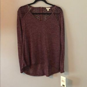 Long Sleeve Knit Top With Detailed Shoulders
